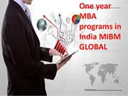One year MBA programs in India services inside thoughts