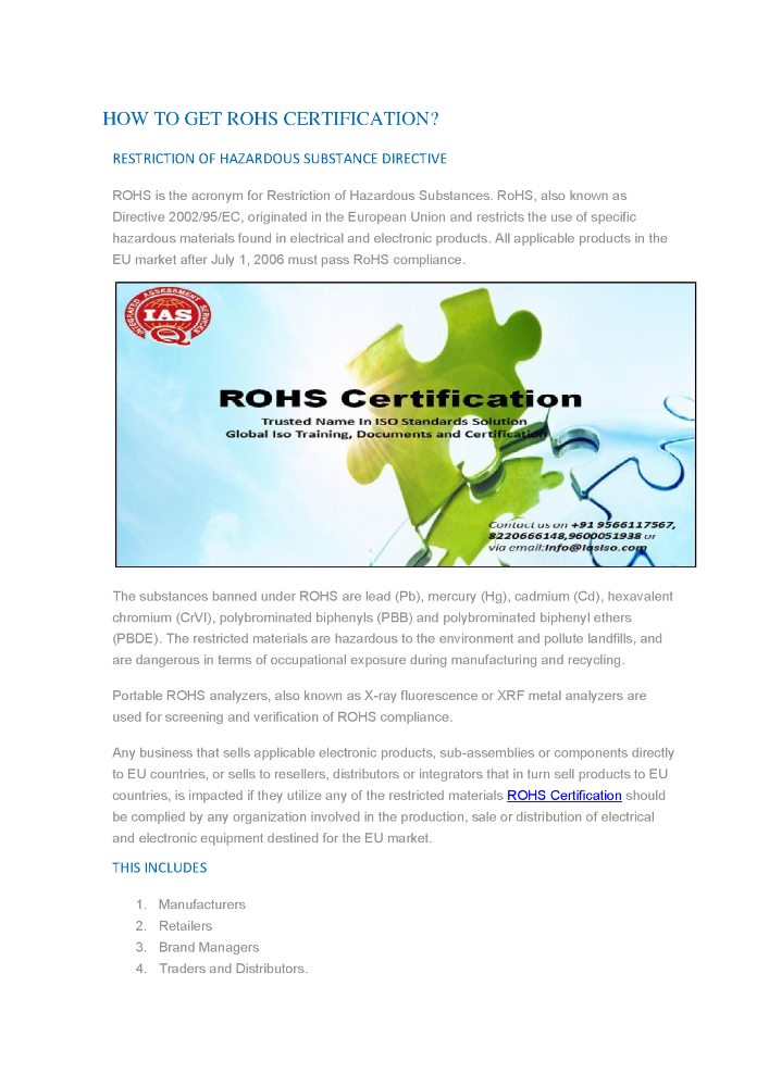 Rohs Certification Body India | Rohs Certification Service Provide ...
