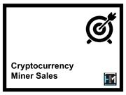 Cryptocurrency Miner Sales