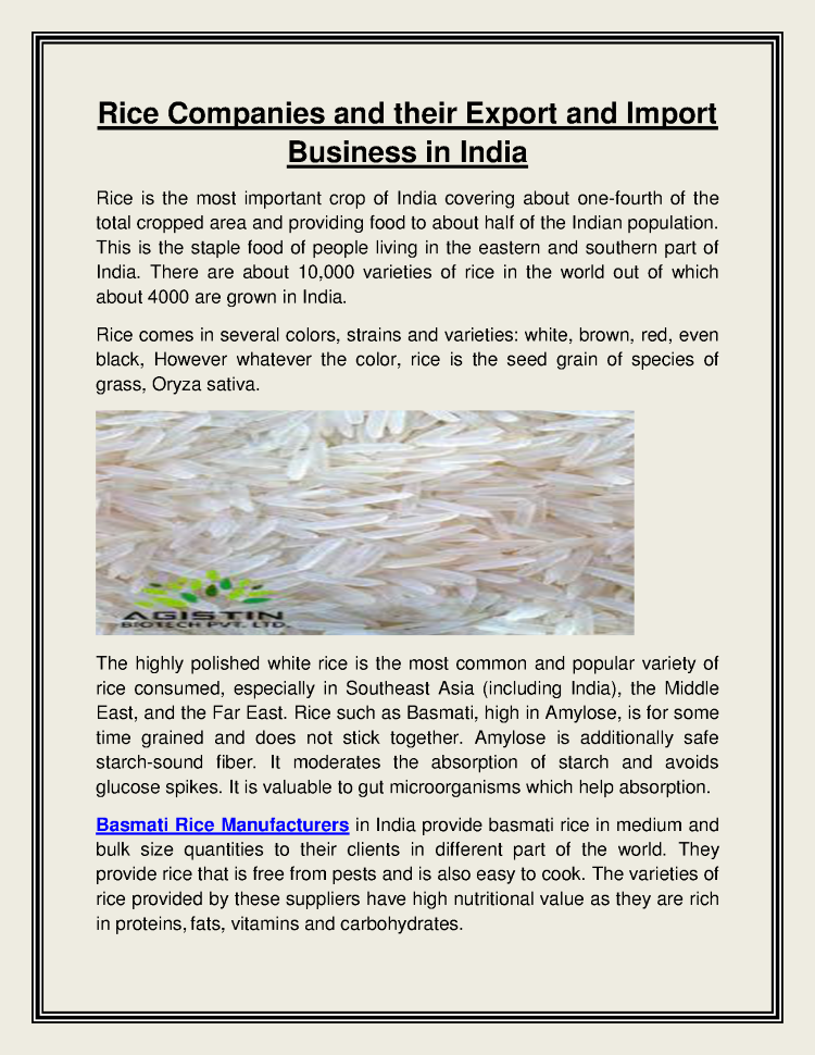 Rice Companies And Their Export And Import Business in India