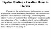Tips for Renting a Vacation Home in Florida