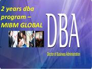 2 years dba program –MIBM GLOBAL