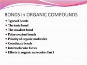 BONDS in ORGANIC COMPOUNDS