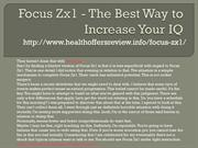 Focus Zx1 - The Best Way to Increase Your IQ
