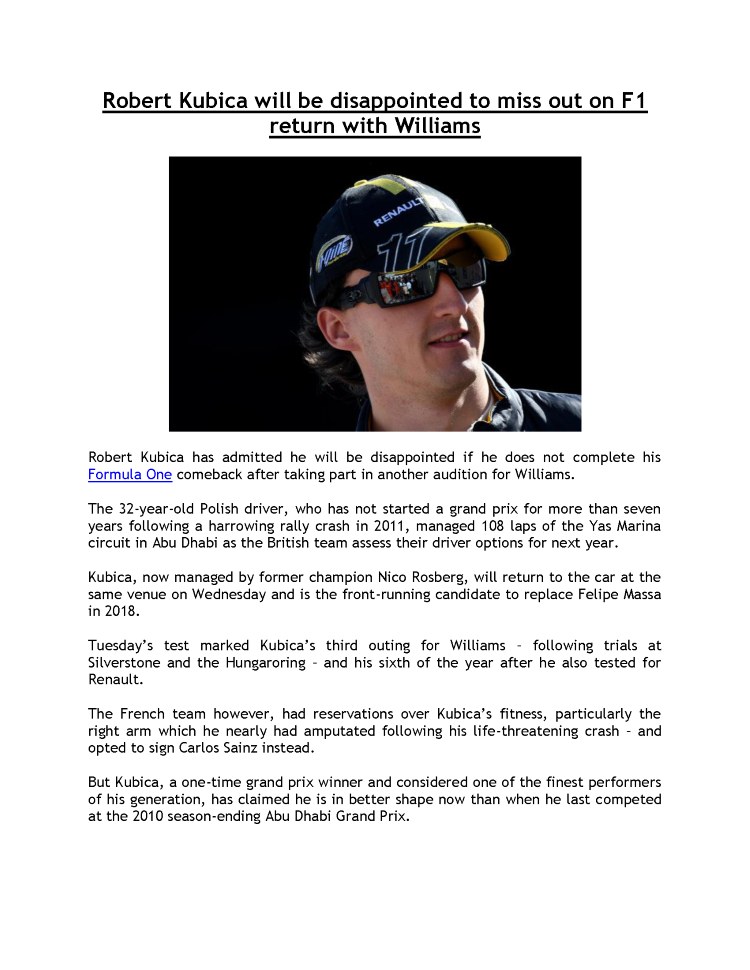F1- Robert Kubica Will be Disappointed to Miss Out on F1 Return Wi