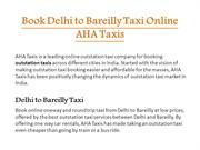 Book Delhi to Bareilly Taxi Online - AHA Taxis