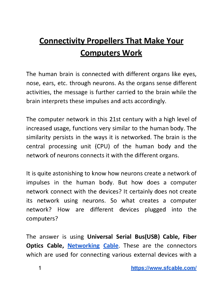 Connectivity Propellers that Make Your Computers Work