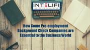 How Come Pre-employment Background Check Companies are Essential to th