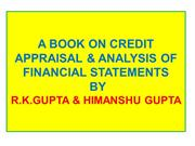 BOOK ON CREDIT APPRAISAL & ANALYSIS OF FINANCIAL Statements