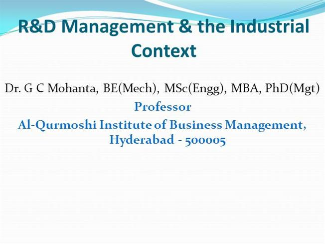 R&D Management & the Industrial Context |authorSTREAM