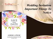 Wedding Invitation Important Things To Notice