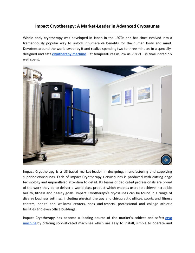 Impact Cryotherapy: a Market-Leader in Advanced Cryosaunas