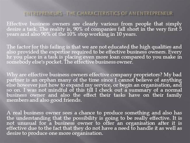 entrepreneurs the characteristics of an entrepreneur authorstream