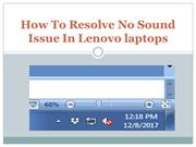 How To Resolve No Sound Issue In Lenovo laptops