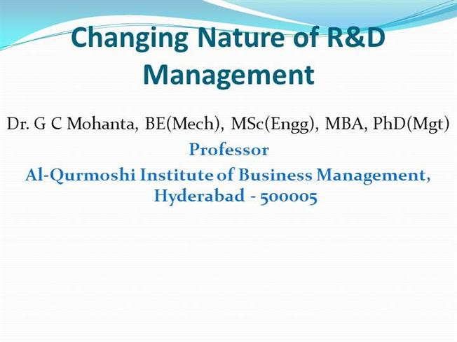 Changing Nature of R&D Management |authorSTREAM