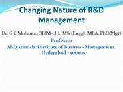Changing Nature of R&D Management