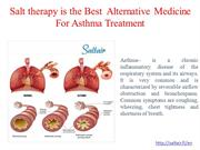 Salt therapy is the Best  Alternative Medicine For Asthma Treatment