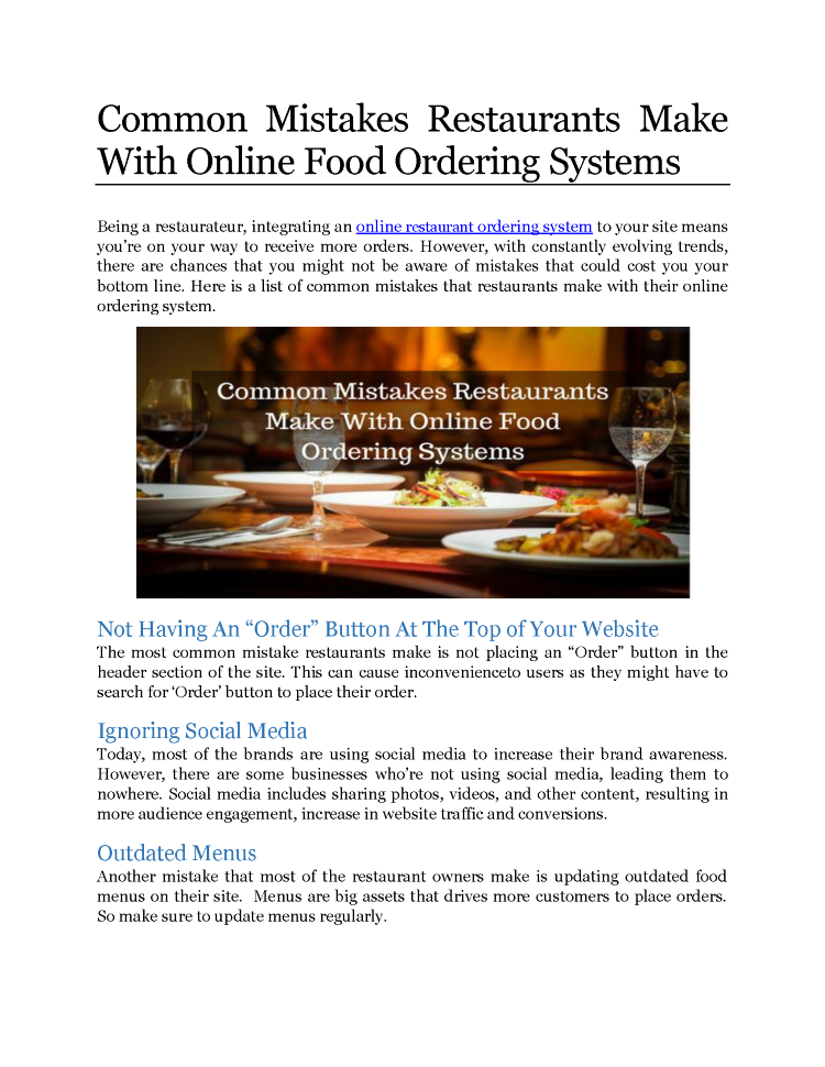 Common Mistake Restaurants Make With Online Food Ordering Systems