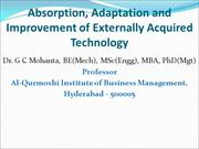 Technology Absorption, Adaption & Improving Technology