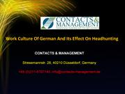 Work Culture Of German And Its Effect On Headhunting