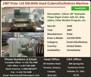 Buy Used 1987 115 EM-MON Polar Cutters/Guillotines Machine