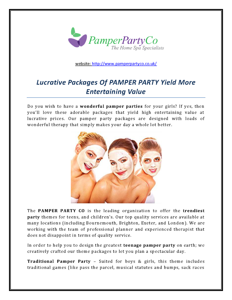 Pamperpartyco-Lucrative Packages of PAMPER PARTY Yield More Entert ...