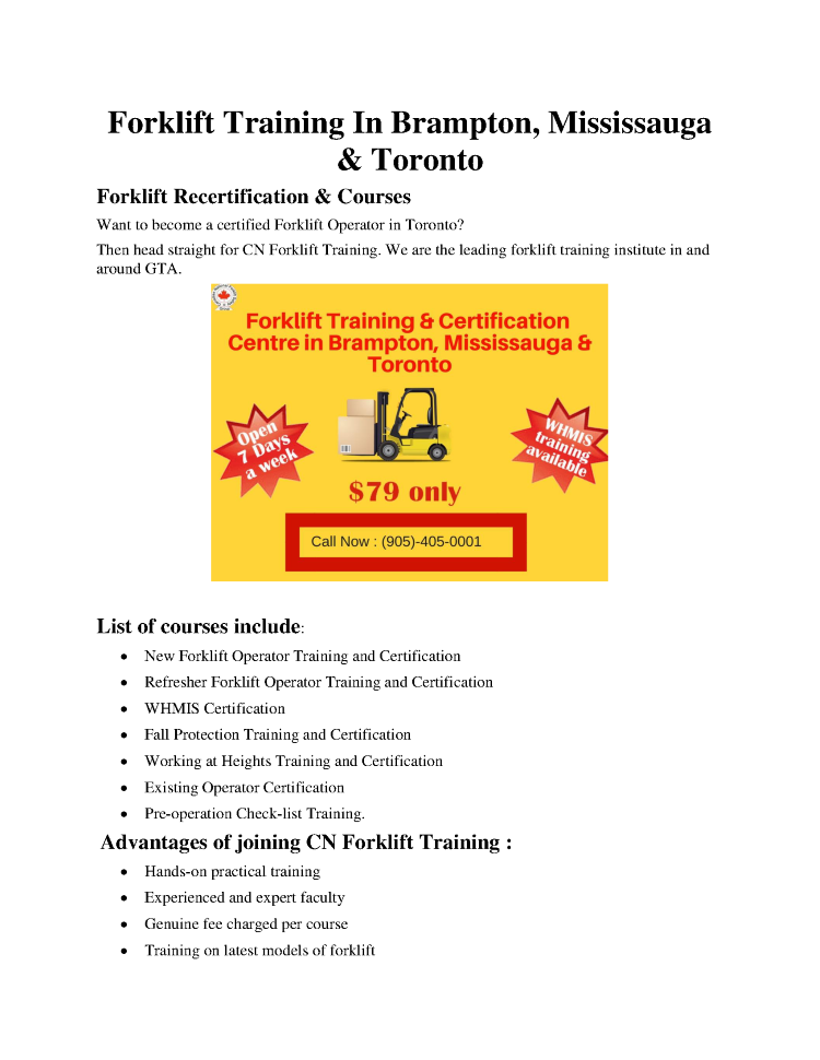 Forklift Training In Brampton Mississauga And Toronto Authorstream