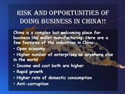 Risk And Opportunities Of Doing Business In China