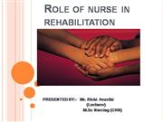 REHABILITATION ; ROLE OF NURSE