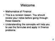 Mathematics of Finance Revision