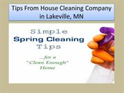 Tips From House Cleaning Company in Lakeville,