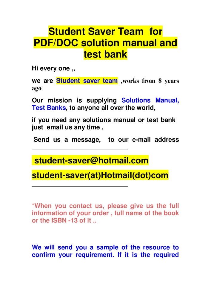 solution manual and test bank student saver team small list