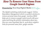 How To Remove Your Name From Google Search Engines
