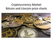 Cryptocurrency Market Bitcoin and Litecoin price charts