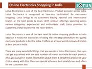 Latest Electronics Shopping at best price - Lotus Electronics
