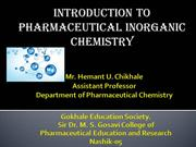 Introduction to Pharmaceutical Inorganic Chemistry