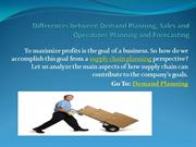 Differences between Demand Planning, Sales and Operations Planning and
