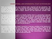 Observational and Experimental Study in Psychology