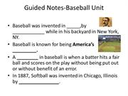 Guided Notes-Baseball Unit powerpoint