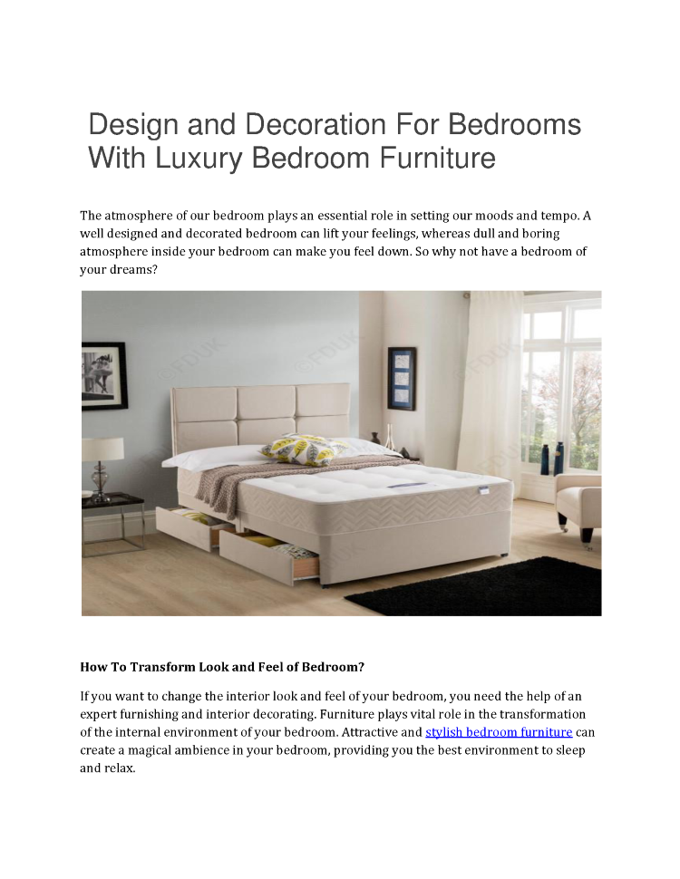 Design And Decoration For Bedrooms With Luxury Bedroom Furniture  |authorSTREAM