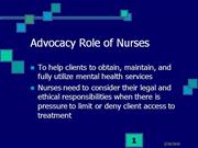 Nursing / Psych: Legal Implications