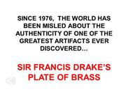 The Truth About Sir Francis Drake's, Plate of Brass