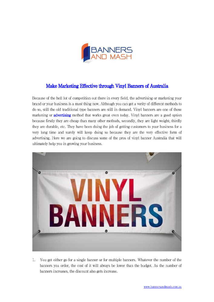 Make Marketing Effective Through Vinyl Banners Of Australia - Vinyl banners australia