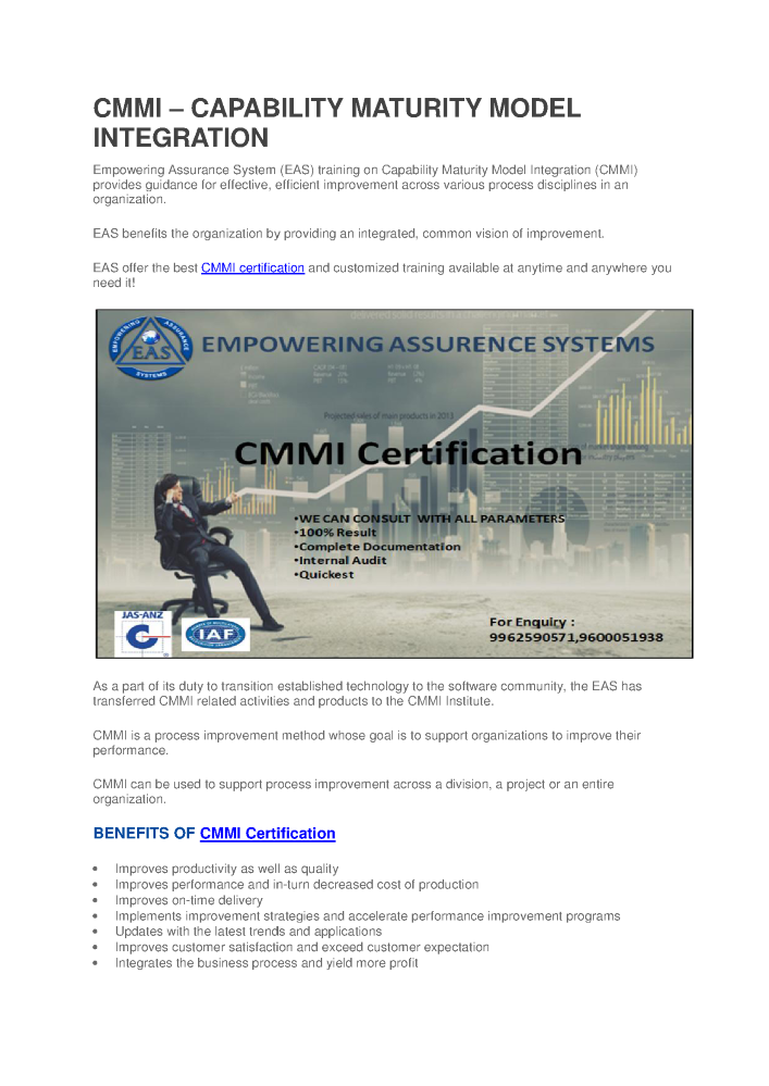 Cmmi Certification Authorstream