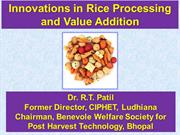 Rice processing & Value addition