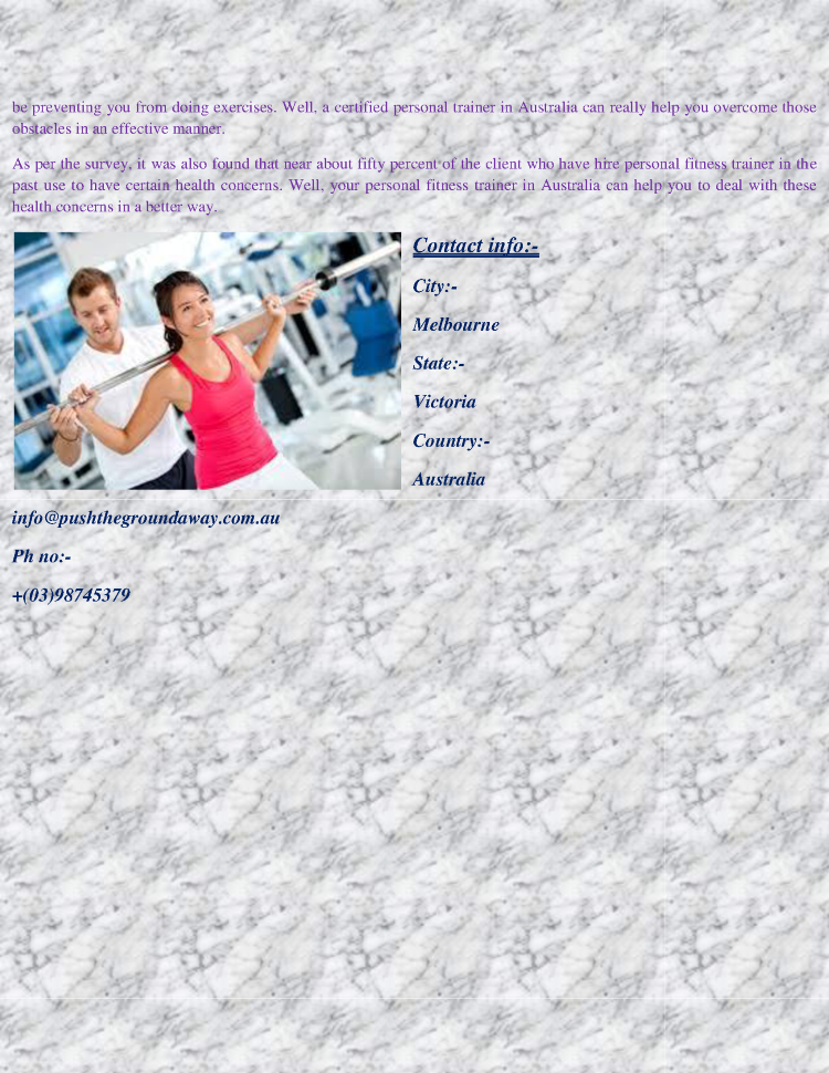 A Certified Personal Trainer In Australia Is The Best Personal Fit