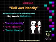SELF & IDENTITY - Definitions - The Liberal Arts and Humanities