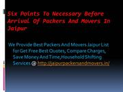 Six Points To Necessary Before Arrival Of Packers And Movers In Jaipur