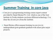 Summer Training  in core java