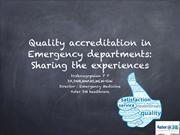 Quality accreditations in emergency medicine: Sharing experiences